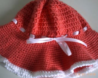 Orange crocheted cotton hat for girl