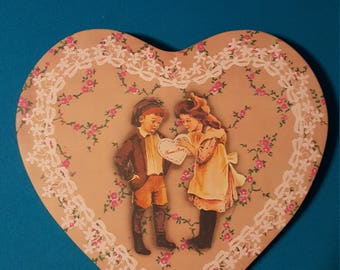 Vintage Victorian Heart Tin ~ Fannie May