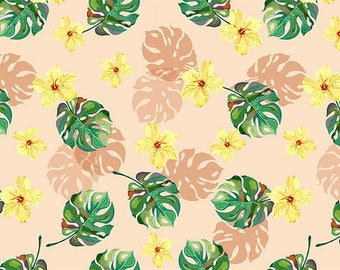 ORIGINAL design, durable and WASHABLE PLACEMAT - 1 - classic yellow flowers and Faux philodendron.