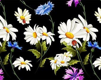 ORIGINAL design, durable and WASHABLE PLACEMAT - 1 ladybugs and daisies.