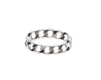 """Sterling Silver """"Open Star"""" Chain Ring"""
