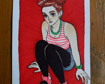 Drawing Original - girl with the double buns A6 Format