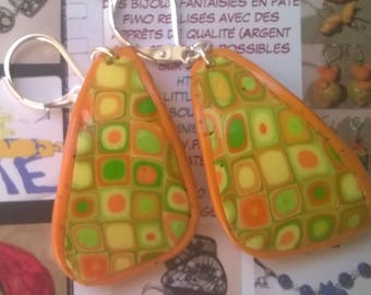 Mosaic earrings polymer clay, citrus: yellow, green, orange