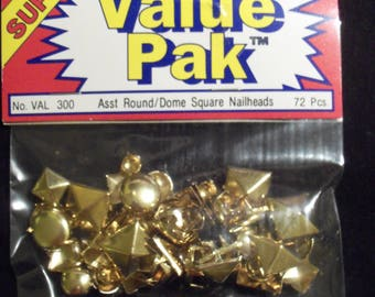 Assorted Gold Round/Dome Square Nailheads Studs 72 Piece Pack