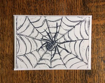 Handprinted linocut spider card