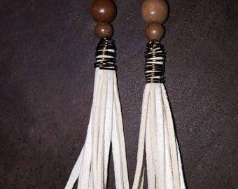 Suede and wood bead tassel earrings