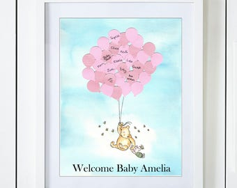 Classic Winnie The Pooh & Piglet Baby Shower Guest Book Alternative with Pink Balloons in the Clouds