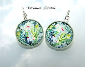 "Earrings sleepers cabochons 20 mm ""Tropics"" blue green and white"