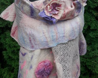 womens shawl, scarf, wrap, poncho, jersey, wet felted with two broches
