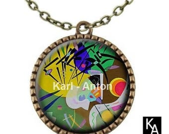 Bronze colored necklace with round pendant + chain pattern Kandinsky art - (700)