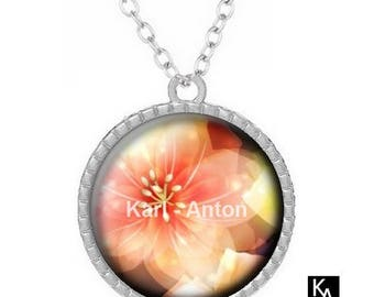 Silver round pendant + chain pattern magic flower Necklace (1535) - flower, floral
