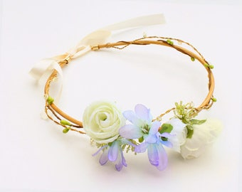 Asymmetrical flower Crown with pearls and green berries