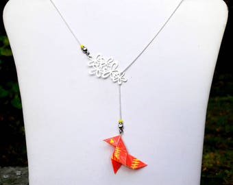 Origami paper birds necklace