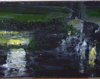 Painting of the Seine to the Louvre at night with a knife