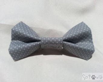 Grey with White dots Bow Tie