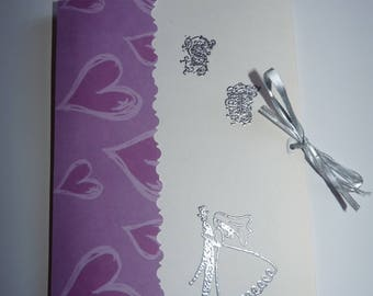 Purple and gray wedding invitation