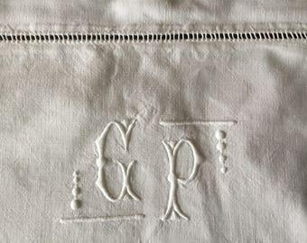 Pillowcase: Antique Embroidered Linen pillow demolition Monogram GP in Art Deco style vintage pillowcase Taie D'oreiller ancienne
