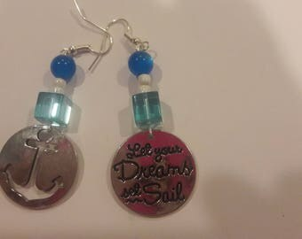 Let your dreams set sail charm with blue and white beaded earrings