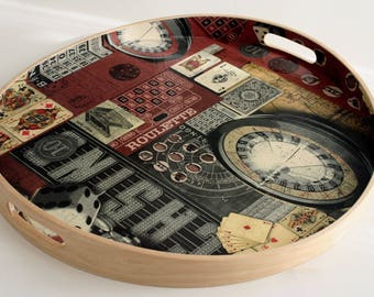 "Serving tray wooden ""Let your games"" """