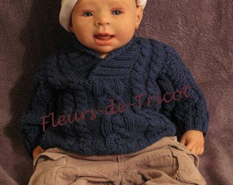 Twisted baby sweater hand knitted