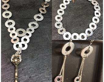 Stainless steel steampunk washer jewelry set