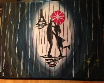 Dancing in the rain canvas acrylic painting