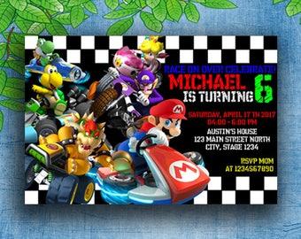 Mario Kart Invites, Mario Kart Invitation, Mario Kart Party Supplies, Mario Kart