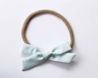 Sky Blue Bow on Nylon Headband - Classic Style Bow