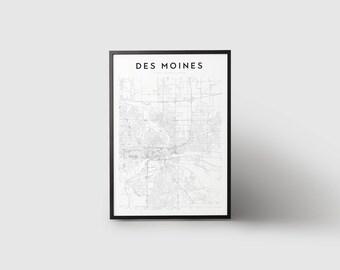 Des Moines Map Print