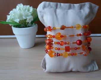 """Bracelet """"Lights"""" shades of Orange. No. 136"""