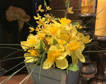 Springtime Daffodils with blue wash wooden box