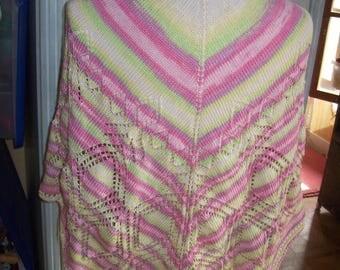 Shawl edge - stitch openwork - color pastel candy-