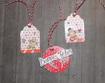 "set of 3 Christmas tags ""gingerbread"" for the original packaging"