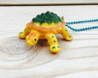 Kitsch tortoise necklace, cute animal necklace, plastic tortoise necklace, quirky animal pendant, geek necklace, natural world jewellery