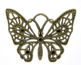 Bronze Butterfly charm pendant 48x36mm