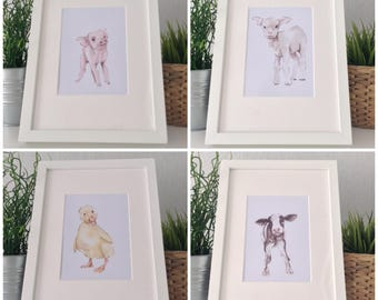 Nursery Set of 4 baby farm animals cow lamb piglet duckling watercolor watercolour painting prints