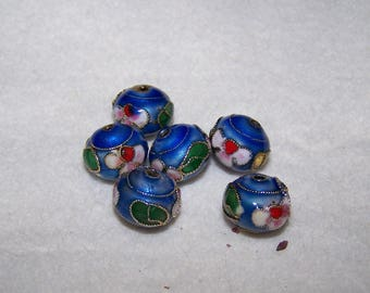 Pearl compartmentalized, Chinese blue 12 mm flower motifs