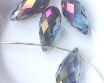 SWAROVSKI Crystal 20 x 10 mm Pearl drop PENDANT crystal clear AB (32 X) light blue