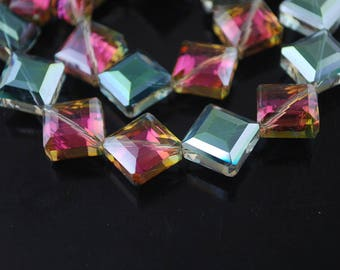 LARGE Crystal beads square two-tone cubic PIERCING diagonal 13 X 13 x 8 mm (67DV)
