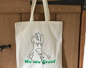 Groot hand painted cotton Tote Bag