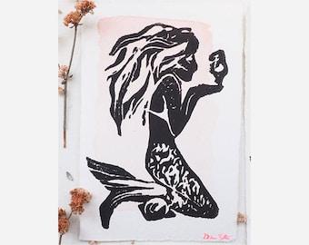 Handmade Mermaid Block Print
