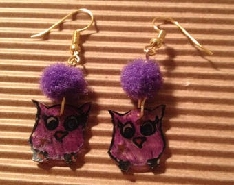 Purple owls earrings