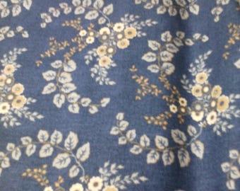 VERY pretty blue fabric dark brown 100% cotton flowers