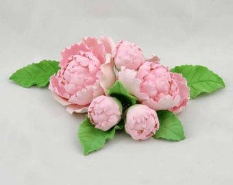 5 Single Peonies Sugar flower wedding birthday cake decoration topper