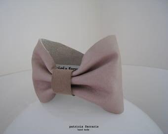 Bow tie bracelet' FARFALLE NOCCIOLA - beige leather