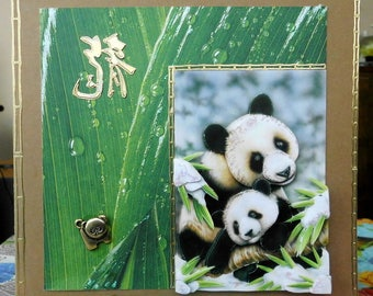 card 3D baby and Mama panda on bottom sheet