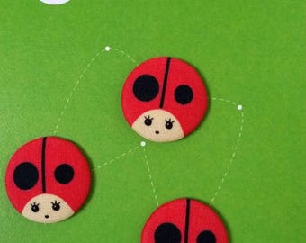 Ladybug, covered button fabric cotton printed Zanies, 20 mm