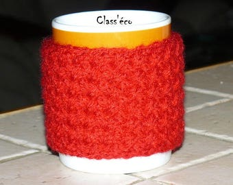 hidden red, knitted mug by hand