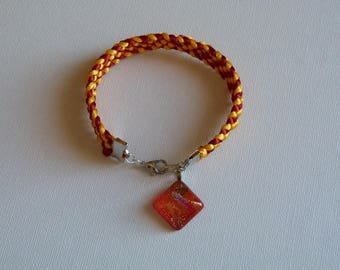 KUMIHIMO BRAID BRACELET RED AND YELLOW