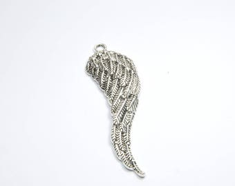 BR963 - 1 large angel wing charm in silver